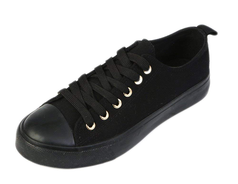 Women's Canvas Cap Toe Sneakers Low Top Shoes-Black-6-Daily Steals