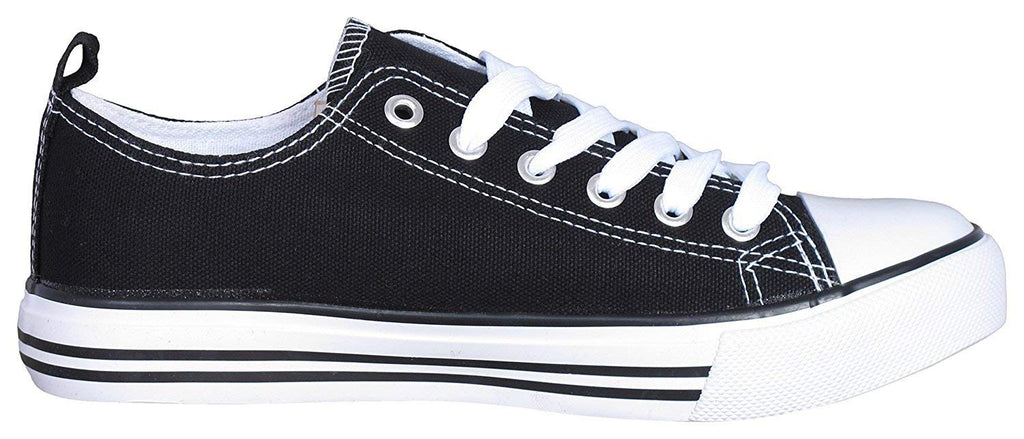 Women's Canvas Cap Toe Sneakers Low Top Shoes-Black And White-6-Daily Steals