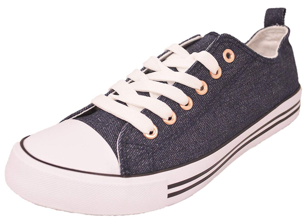 Women's Canvas Cap Toe Sneakers Low Top Shoes-DENIM-6-Daily Steals