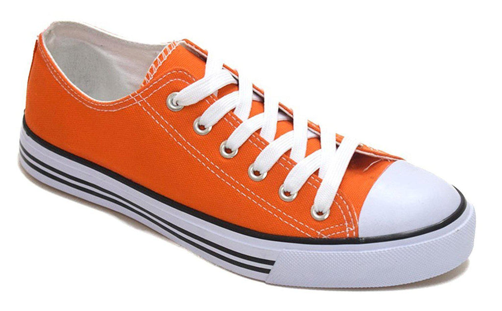 Women's Canvas Cap Toe Sneakers Low Top Shoes-Orange-6-Daily Steals