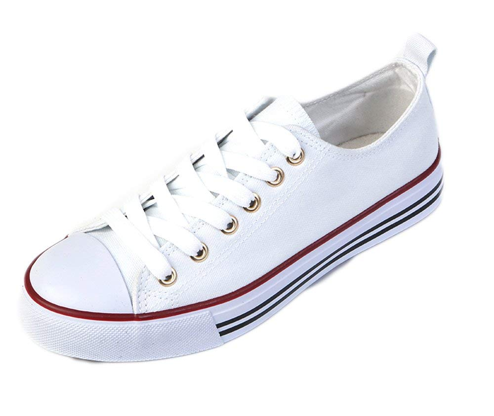 Women's Canvas Cap Toe Sneakers Low Top Shoes-White-6-Daily Steals