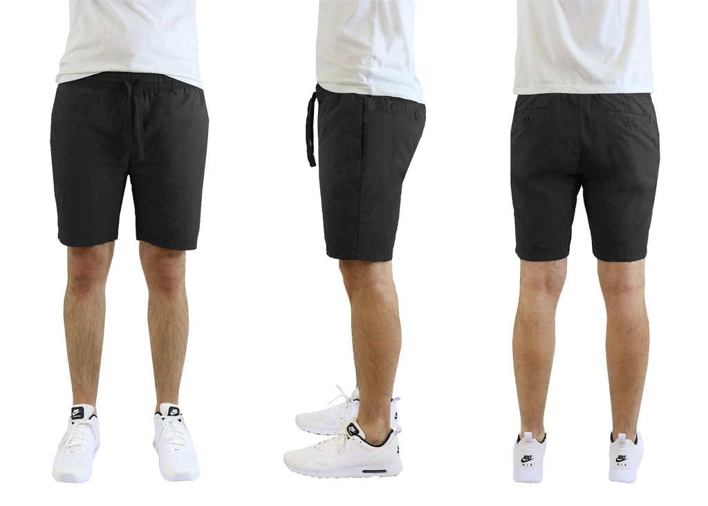 Men's Cotton Stretch Poplin Lounge Shorts-Black-M-Daily Steals