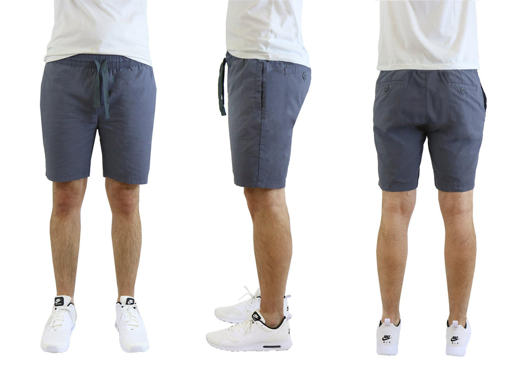 Men's Cotton Stretch Poplin Lounge Shorts-Grey-XL-Daily Steals