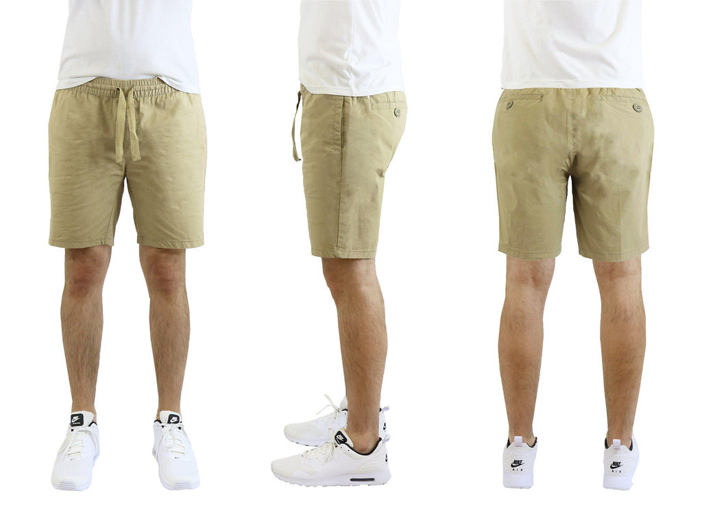 Mäns bomullsstretch Poplin Lounge Shorts-Khaki-M-Daily Steals
