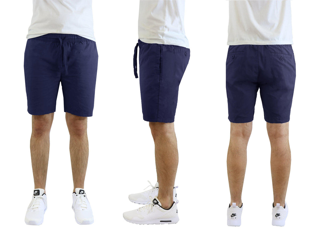 Herr bomullsstretch Poplin Lounge Shorts-Navy-M-Daily Steals