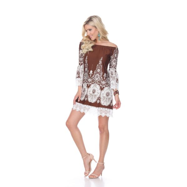 'Mya' Dress-Brown/White-S-Daily Steals