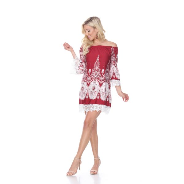 'Mya' Dress-Burgundy/White-S-Daily Steals