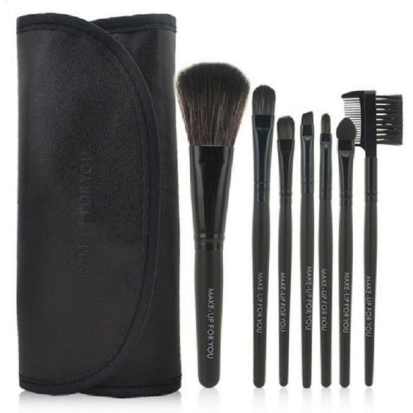 7 Piece High Quality Makeup Brush Set-Black-Daily Steals
