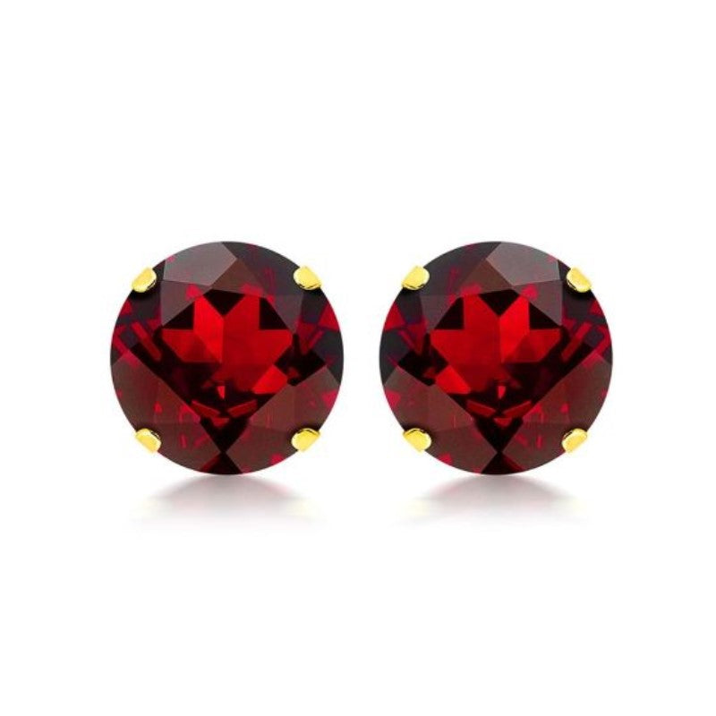 10K Yellow Gold 2.00 CTW Created Ruby Stud Earrings-Daily Steals