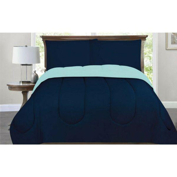 All-Season Down Alternative Reversible 2-Tone Comforter - 4 Colors-Navy/Aqua-Twin/Twin XL-Daily Steals