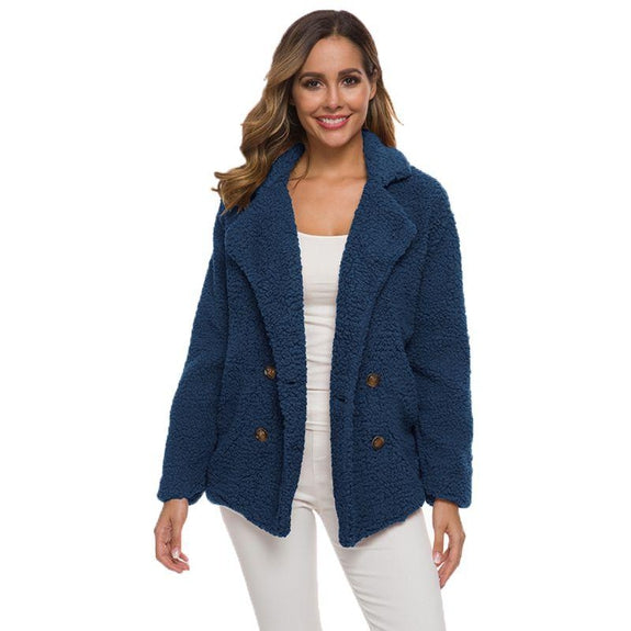 Soft Comfy Plush Pea Coat-Navy-Small-Daily Steals