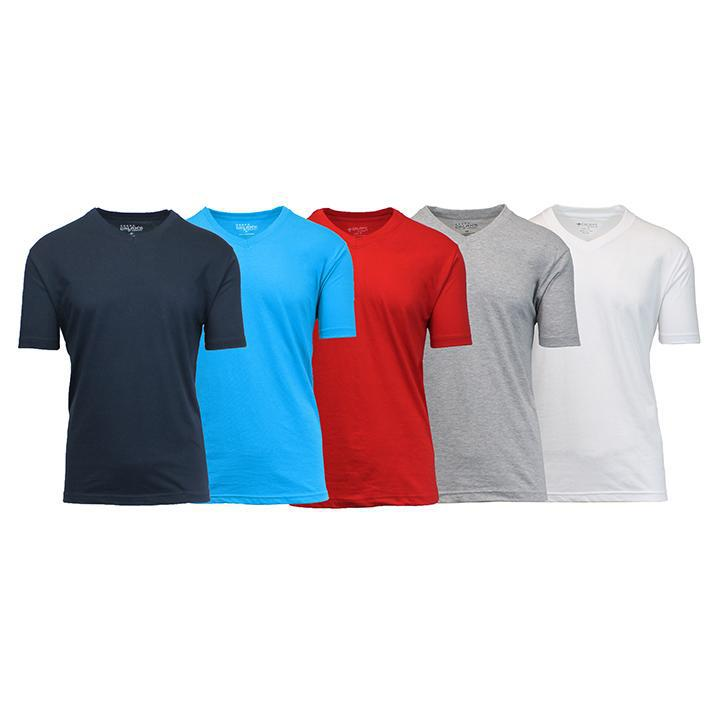 Daily Steals-Men's Premium Cotton Blend Short Sleeve V-Neck Tees - 5 Pack-Men's Apparel-Navy - Aqua - Red - Heather Grey - White-Medium-