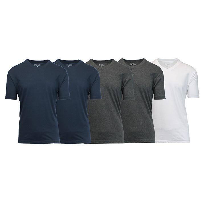 Daily Steals-Men's Premium Cotton Blend Short Sleeve V-Neck Tees - 5 Pack-Men's Apparel-Navy - Navy - Charcoal - Charcoal - White-Medium-