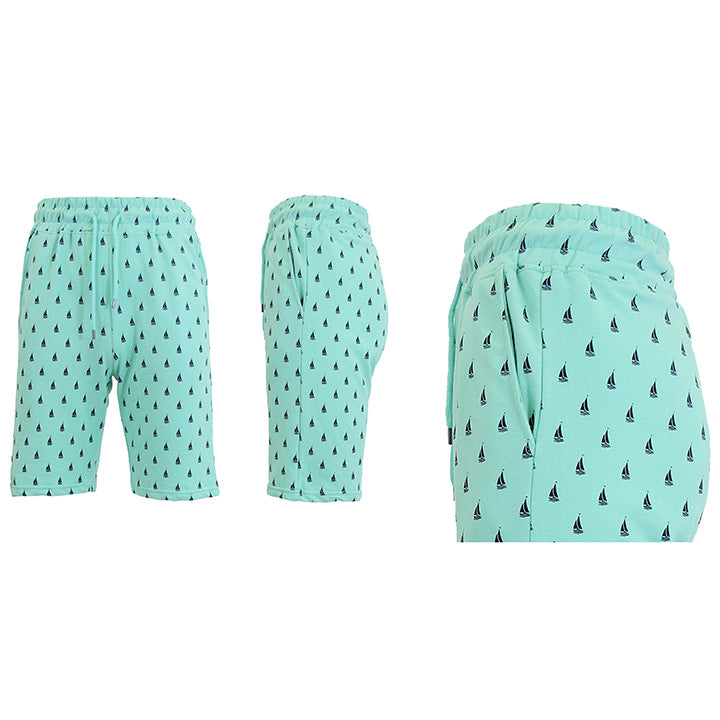 Shorts de felpa francesa estampados para hombre - Tallas S-2X-Mint Sailboats-2XL-Daily Steals