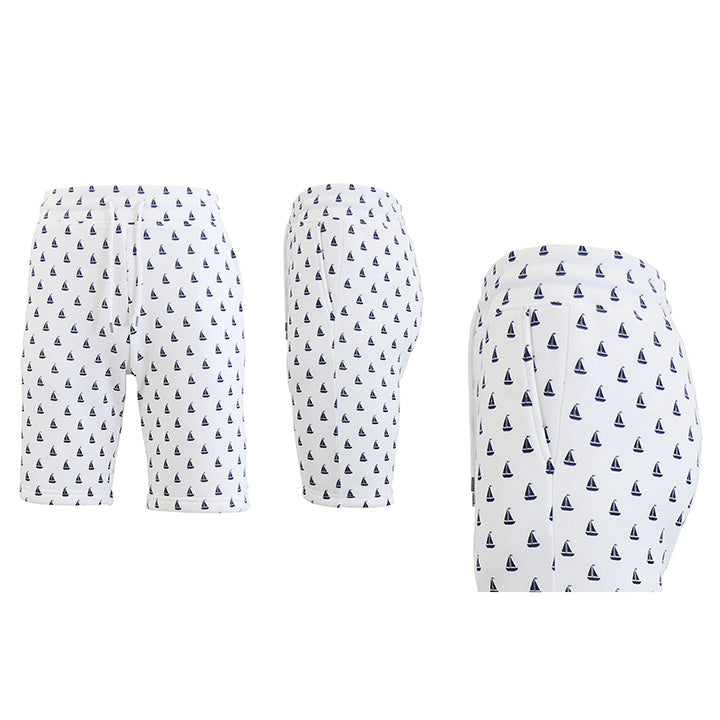 Shorts de felpa francesa estampados para hombre - Tallas S-2X-White Sailboats-2XL-Daily Steals