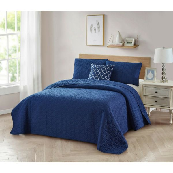Bibb Home 4-Piece Solid Reversible Quilt Set-Navy-Twin-Daily Steals
