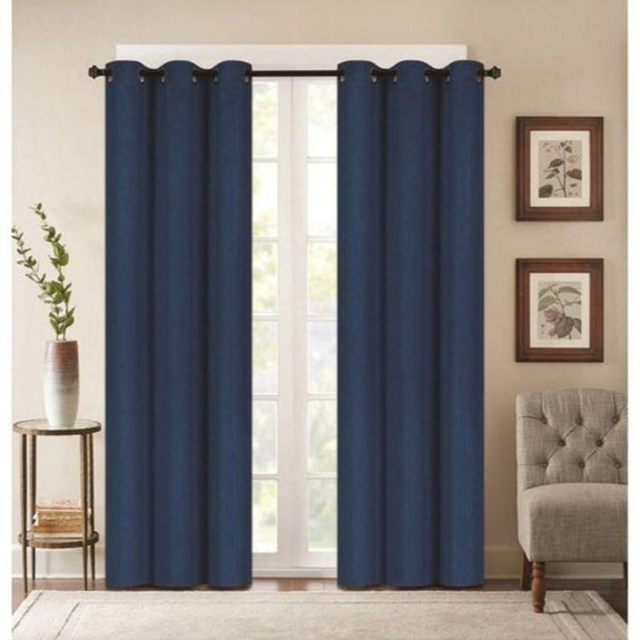 "Embossed Faux Silk 76""x63"" or 76""x84"" Grommet Window Panel Pair-NAVY BLUE-76'' X 63''-Daily Steals"