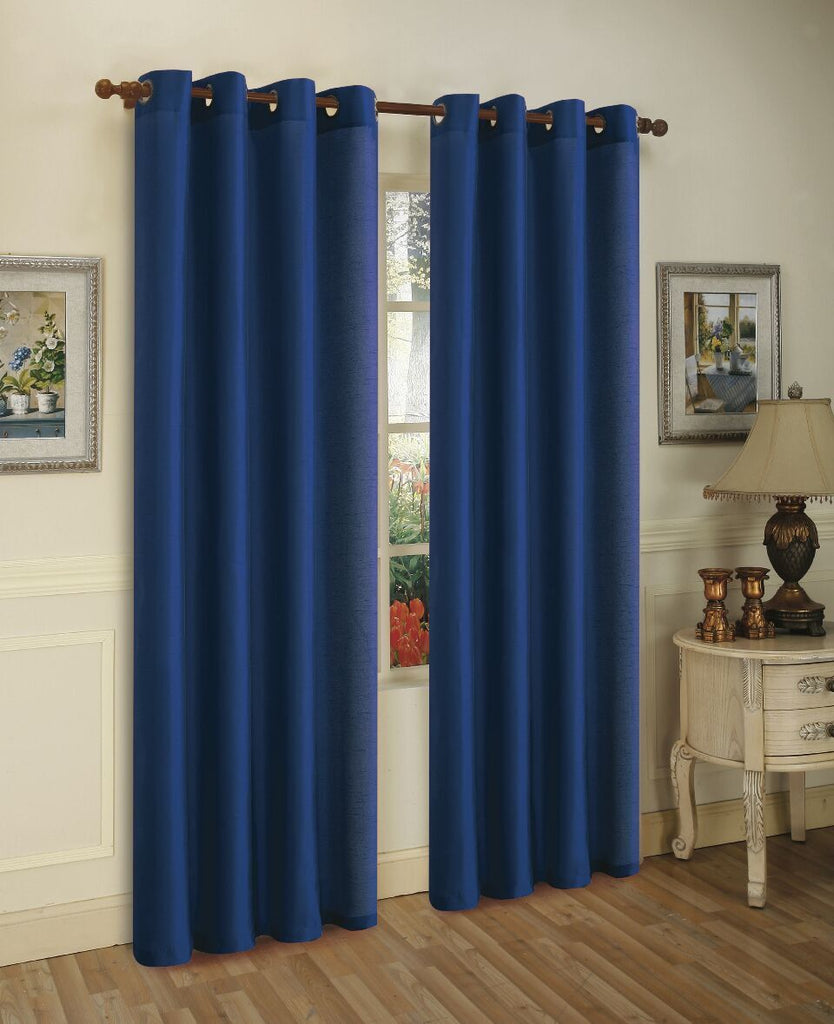 Mira Faux Silk Curtains with Bronze Grommets - 3 Panels-Navy Blue-Daily Steals