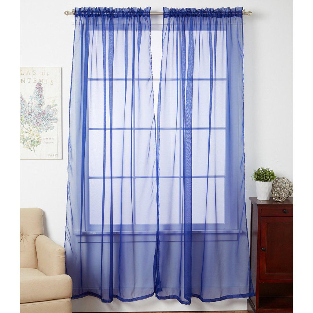 Linda Sheer Voile Curtain Panels - Various Colors - 4-Pack-NAVY BLUE-Daily Steals