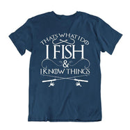 """That's What I Do I Fish And I Know Things"" Fishing T-Shirt-Navy Blue-S-Daily Steals"