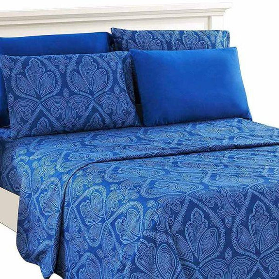 6 Piece Paisley Printed Deep Pocket Bed Sheet Set-NAVY BLUE-Full-Daily Steals