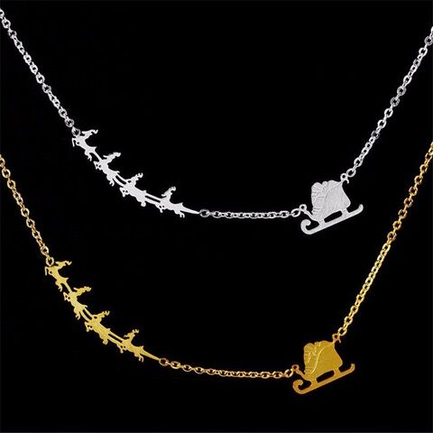 Sled And Reindeer Drop Necklace-White-Daily Steals