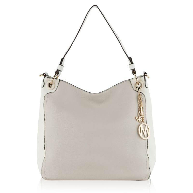 Nene Vegan Leather Hobo Handbag by MKF-Beige- White-Daily Steals