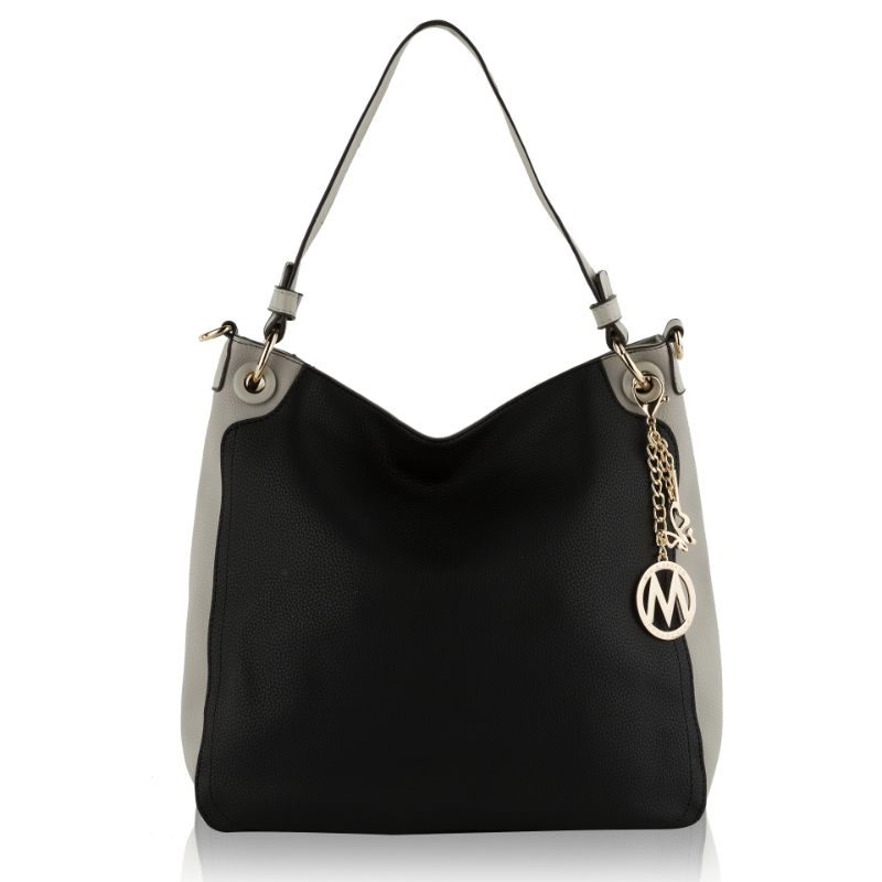 Nene Vegan Leather Hobo Handbag by MKF-Black-Light Grey-Daily Steals