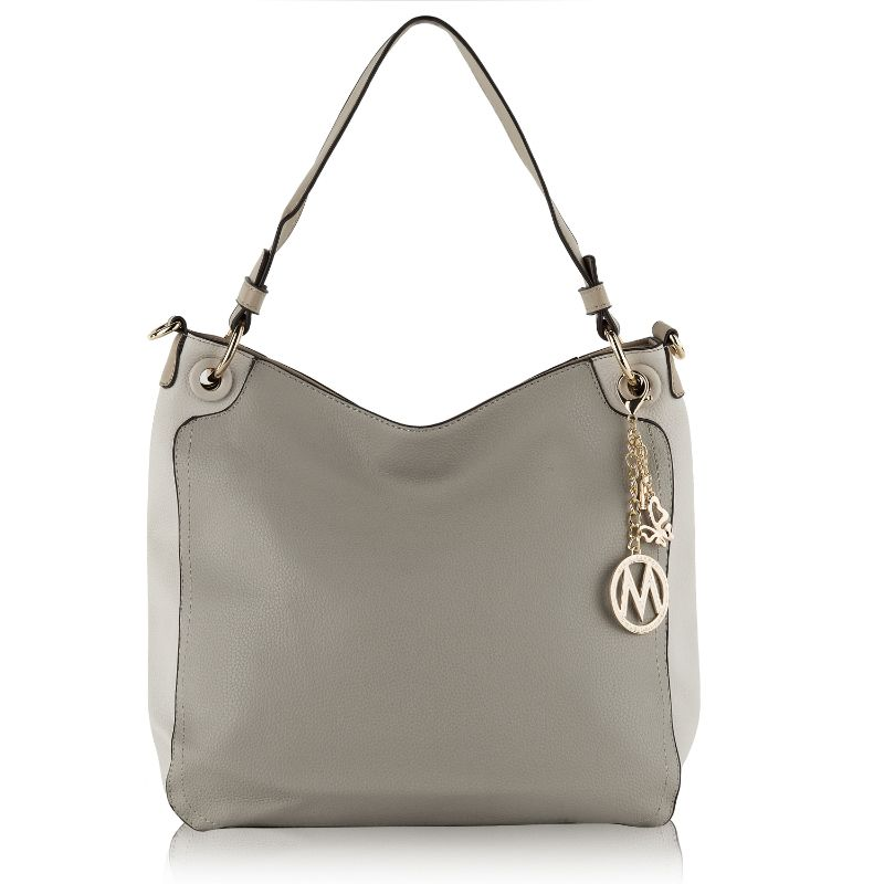 Nene Vegan Leather Hobo Handbag by MKF-Light Grey-Beige-Daily Steals