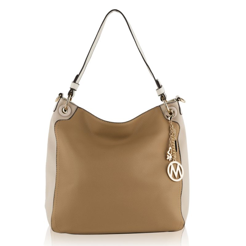 Nene Vegan Leather Hobo Handbag by MKF-Taupe- Apricot-Daily Steals