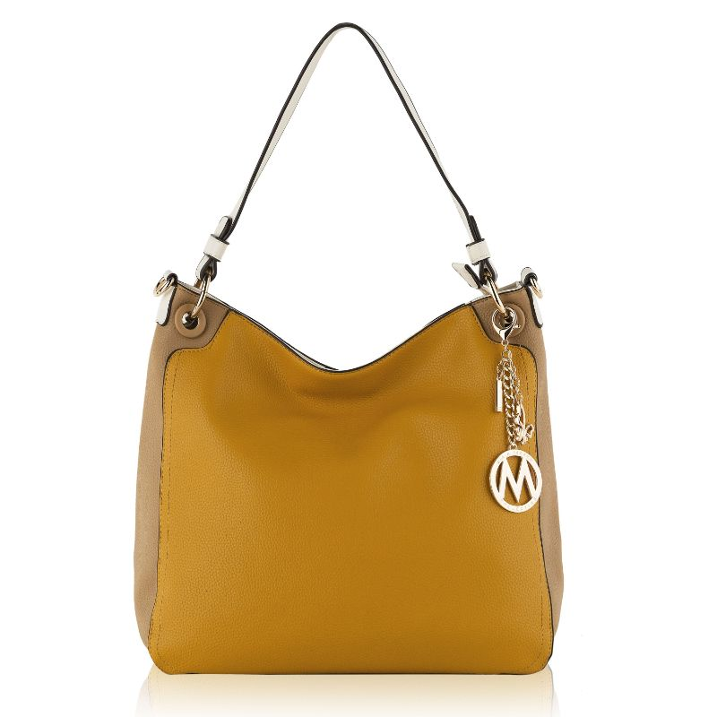 Nene Vegan Leather Hobo Handbag by MKF-Yellow-Taupe-Daily Steals