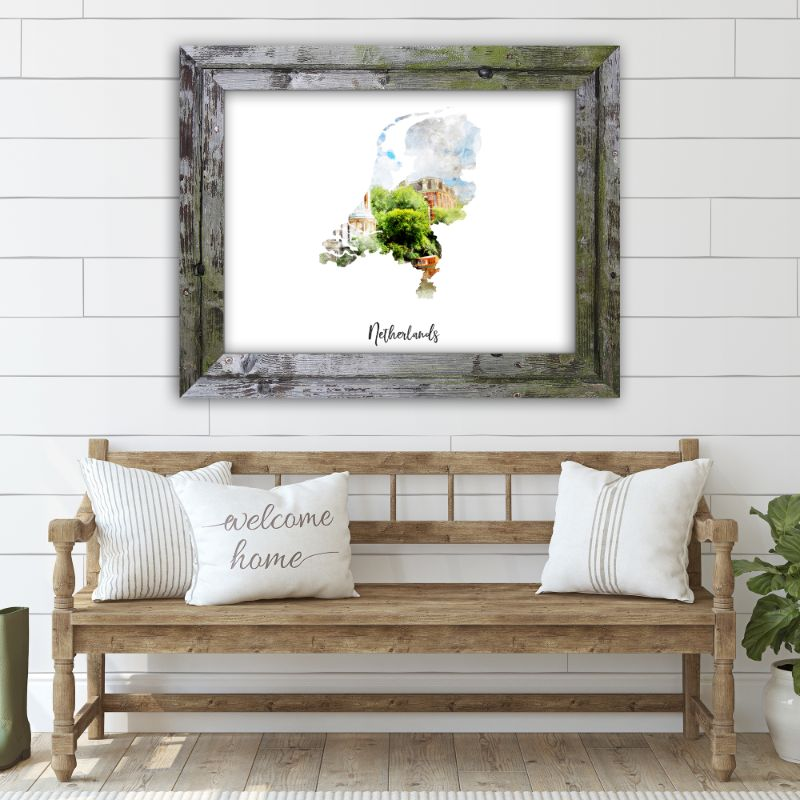 "Netherlands Watercolor Map Print - Unframed Art Print-14""x11""-Horizontal/Landscape-Daily Steals"