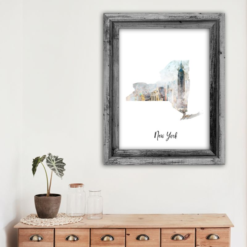 "New York Manhattan Watercolor Map Print - Unframed Art Print-13""x19""-Vertical/Portrait-Daily Steals"