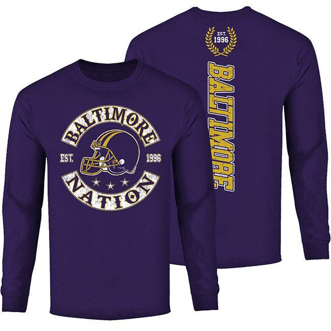Men's Football Nation Long Sleeve Shirt-Baltimore - Purple-S-Daily Steals