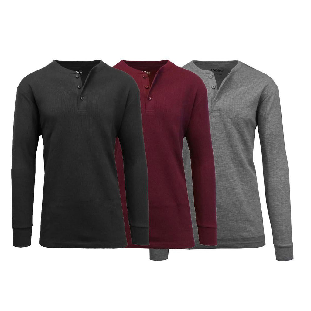 Men's Waffle-Knit Thermal Henley Tees - 3 Pack-Black - Burgundy - Charcoal-S-Daily Steals