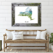 "New York Countryside Watercolor Map Print - Unframed Art Print-16""x12""-Horizontal/Landscape-Daily Steals"
