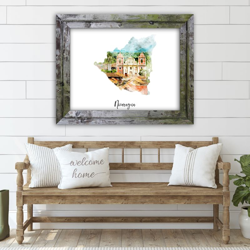 "Nicaragua Watercolor Map Print - Unframed Art Print-18""x12""-Horizontal/Landscape-Daily Steals"