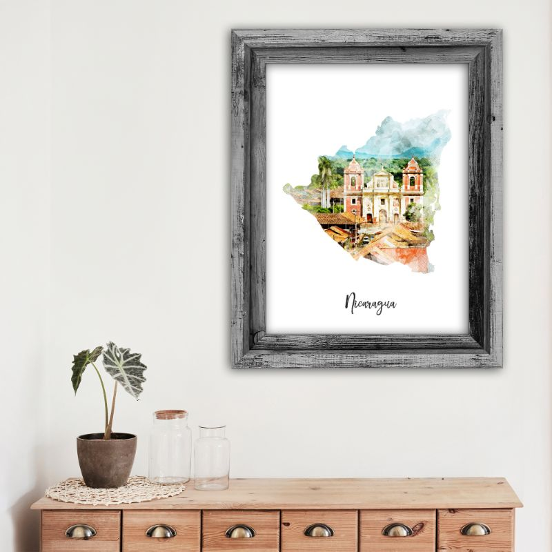 "Nicaragua Watercolor Map Print - Unframed Art Print-11""x14""-Vertical/Portrait-Daily Steals"