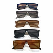 Niche Unisex Sunglasses - Rectangular Plastic Frame, UV400 Lens Protection, Assorted Colors-2 Pack-