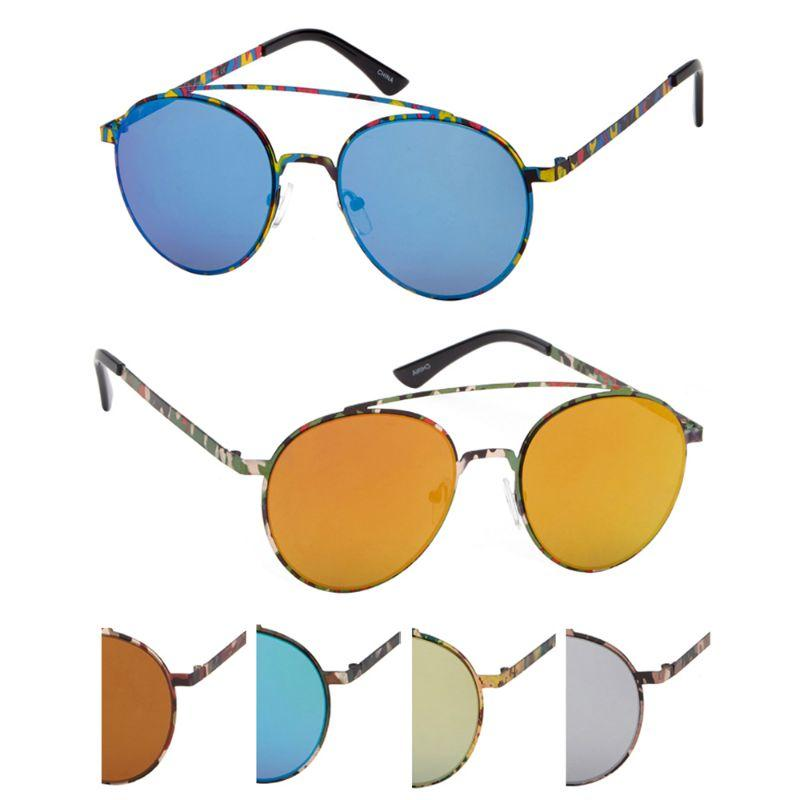 Niche Unisex Sunglasses - Round Slim Metal Frame UV400 Lens Protection, Assorted Colors-2 Pack-