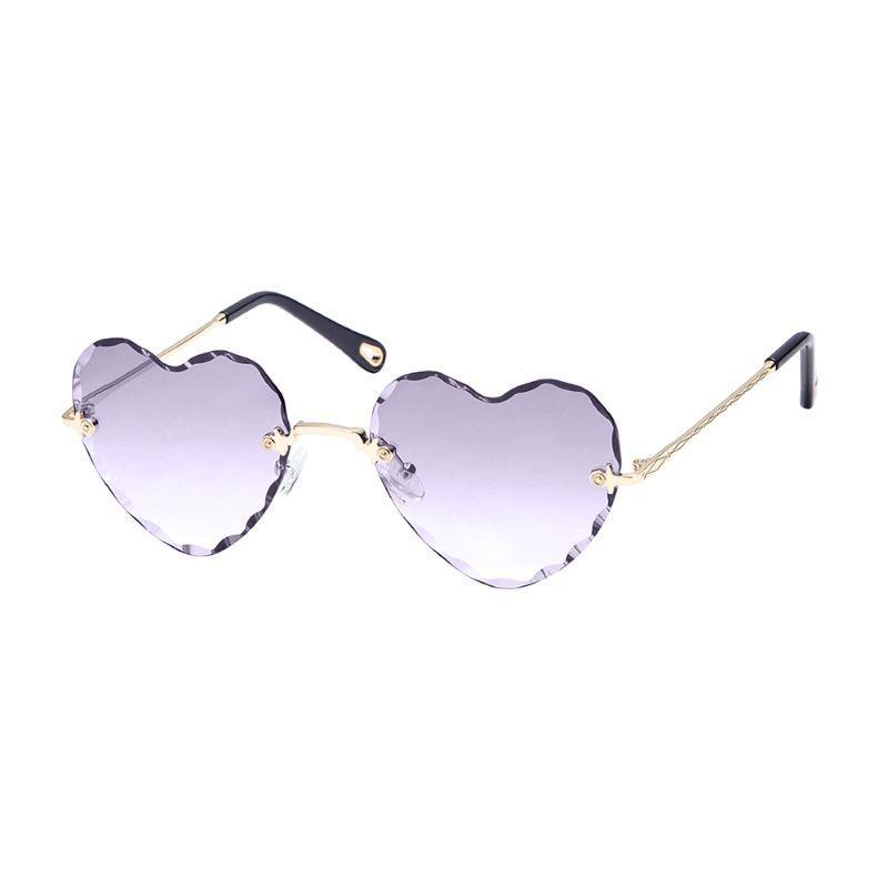 Niche Women's Sunglasses - Heart Style Thin Metal Frame, UV400 Lens Protection, Assorted Colors-2 Pack-