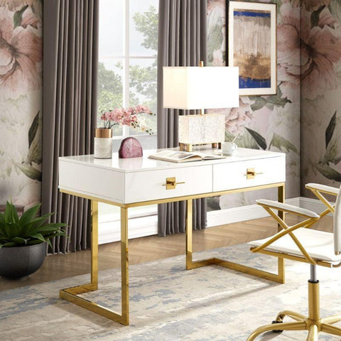 Nicole Miller Ohana Writing Desk-Black/Gold-
