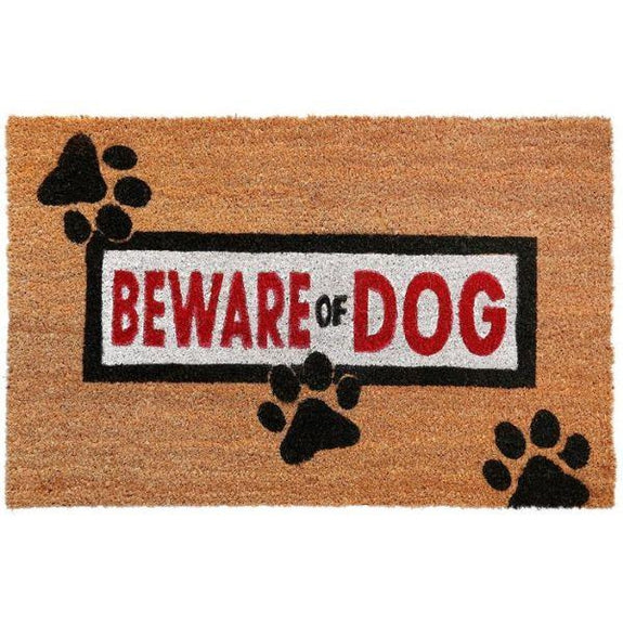 Nicole Miller Comfy Pooch Outdoor Coir Mat-BEWARE OF DOG-Daily Steals