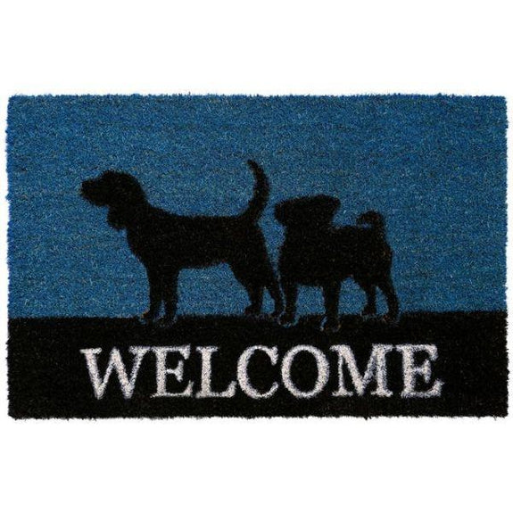 Nicole Miller Comfy Pooch Outdoor Coir Mat-WELCOME BLUE-Daily Steals