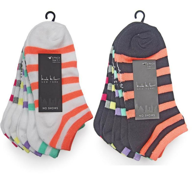 Nicole Miller Women's Assorted No Show Socks - 8 Styles - 12 Pairs-Stripes-Daily Steals
