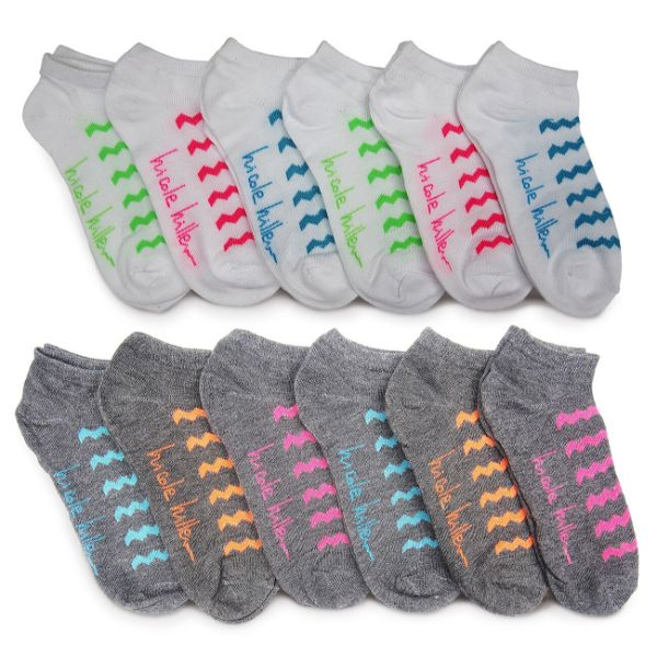 Nicole Miller Women's No Show Socks - 24 Pairs-Chevron-Daily Steals