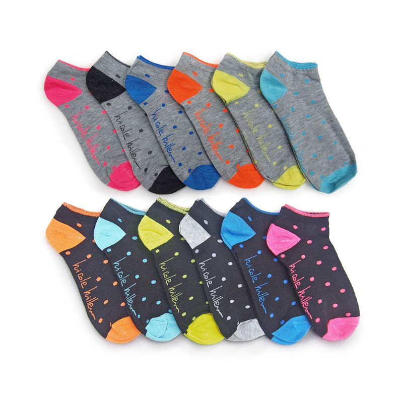Nicole Miller Women's Assorted No Show Socks - 8 Styles - 12 Pairs-Polkadot-Daily Steals