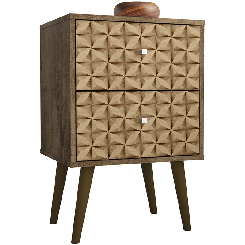 Liberty 2.0 Mid Century Modern Nightstand-Rustic Brown and 3D Brown Prints-Daily Steals