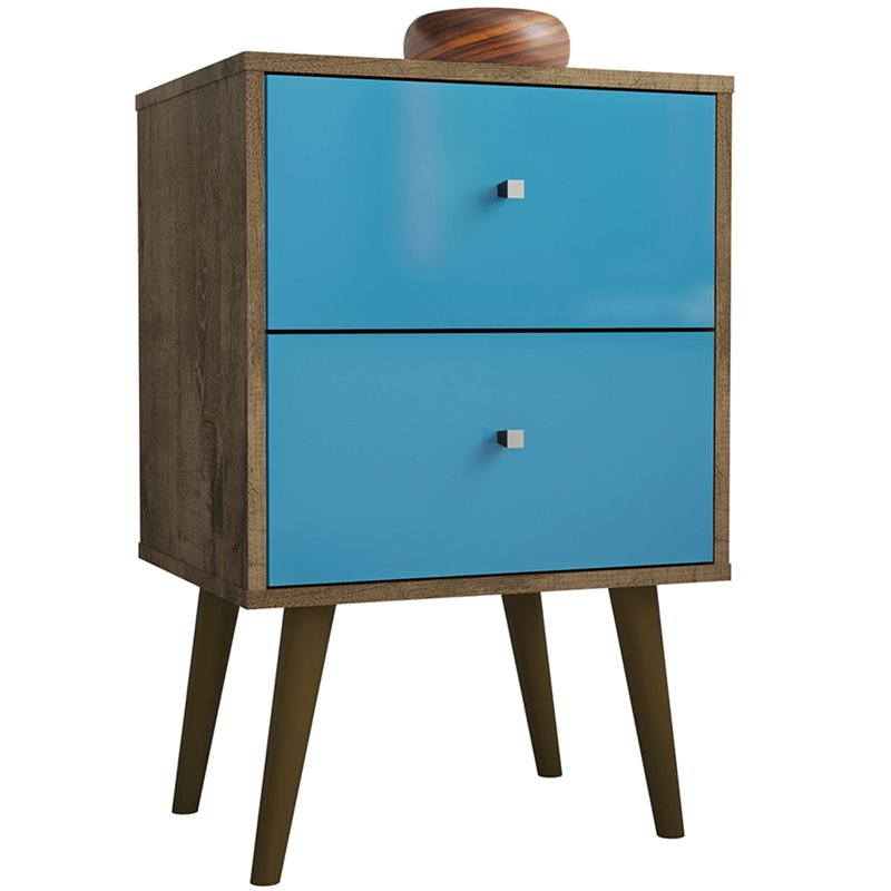 Liberty 2.0 Mid Century Modern Nightstand-Rustic Brown and Aqua Blue-Daily Steals