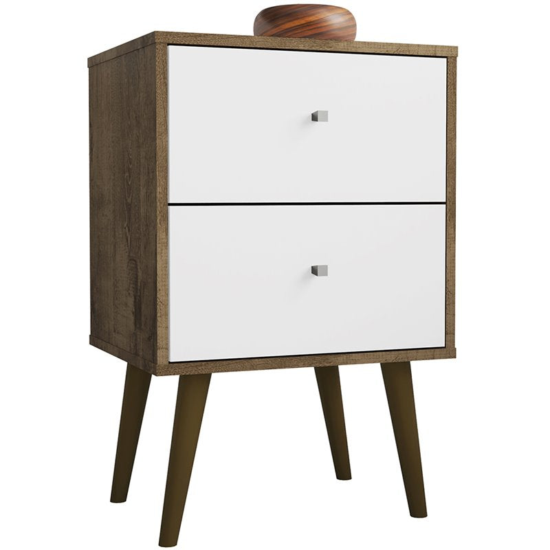 Liberty 2.0 Mid Century Modern Nightstand-Rustic Brown and White-Daily Steals